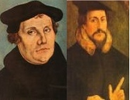 Luther on the left; Calvin on the right